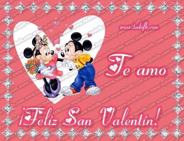 Imgenes de San Valentn para Facebook con Minnie y Mickey